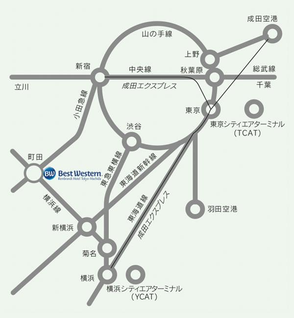 ベストウェスタン レンブラントホテル 東京町田|電車でお越しの場合