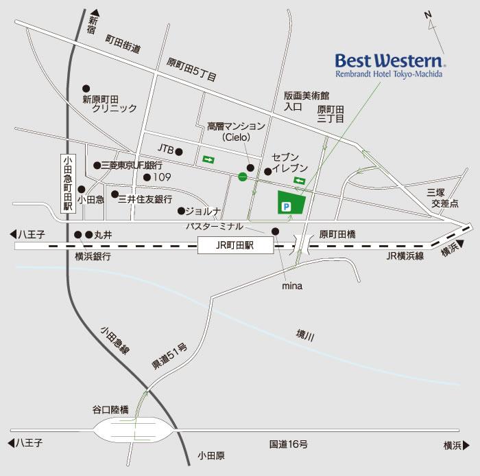 ベストウェスタンレンブラントホテル町田 電車でのアクセス